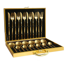 KuBac 24Pcs Box Cutlery Set 18/10 Stainless Steel Knife Fork Matte Gold Dinnerware With Gift Drop Shipping