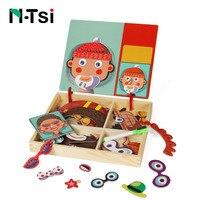 N Tsi 나무 어린이 교육 장난감 자석 퍼즐 게임 세트 이젤 건조