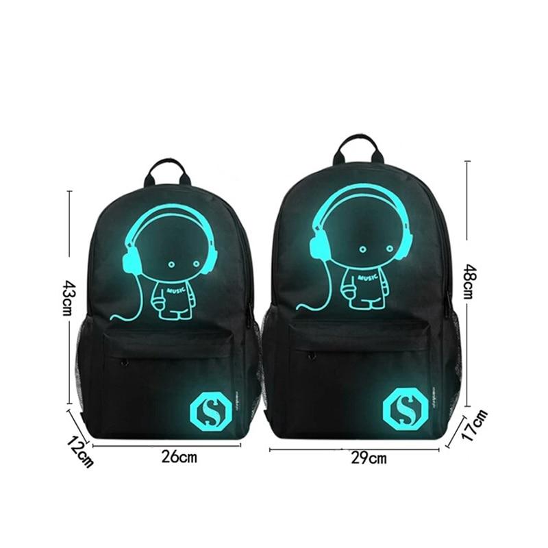 noctilucentes moda dos desenhos animados Function : School Backpack