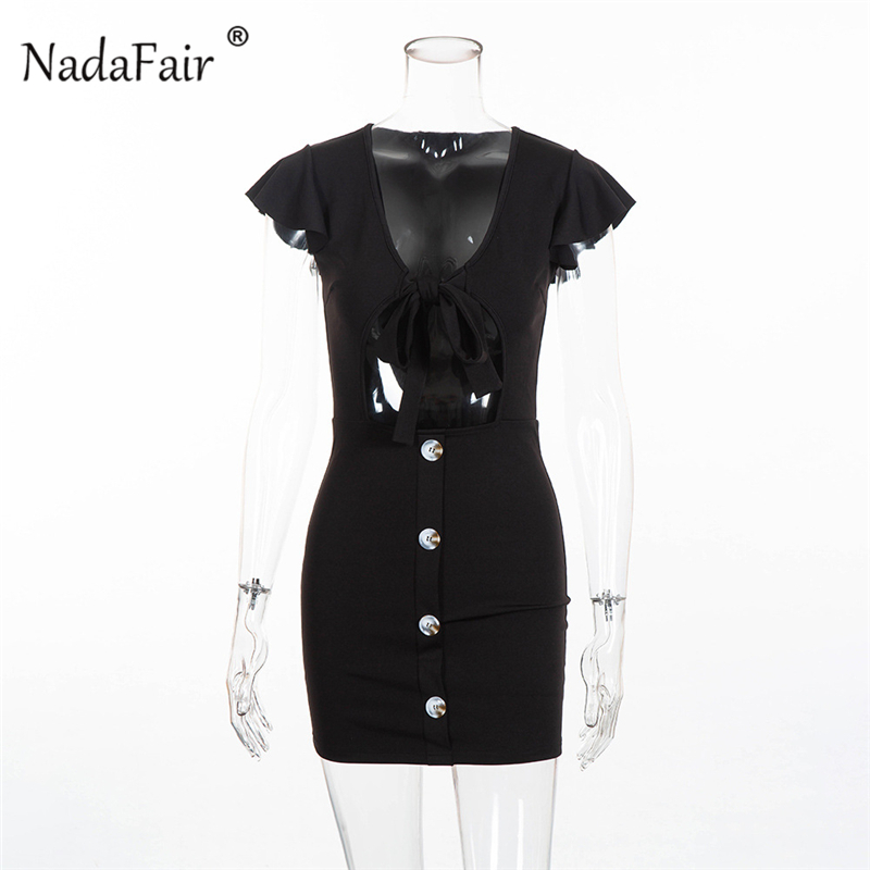 V neck hollow out lace up sexy dress15_