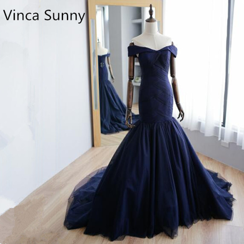 Navy blue Long Evening Gowns Off The Shoulder Prom Dresses Mermaid Sweep Train Special Occasion Gowns