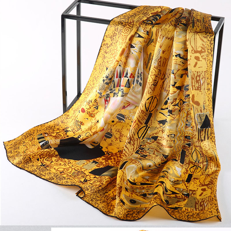 DANKEYISI New Silk Scarf Van Gogh's Famous Oil Painting Art Works Printed Scarf Women Scarf Luxury Brand Designer Scarves Female