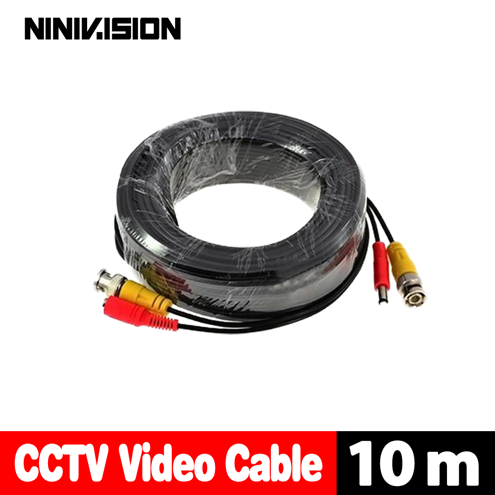 NINIVISION 32ft(10m) BNC Video Power Siamese Cable for Surveillance CCTV Camera Accessories DVR Kit infrared thermometer center 358 18 315c with free shipping