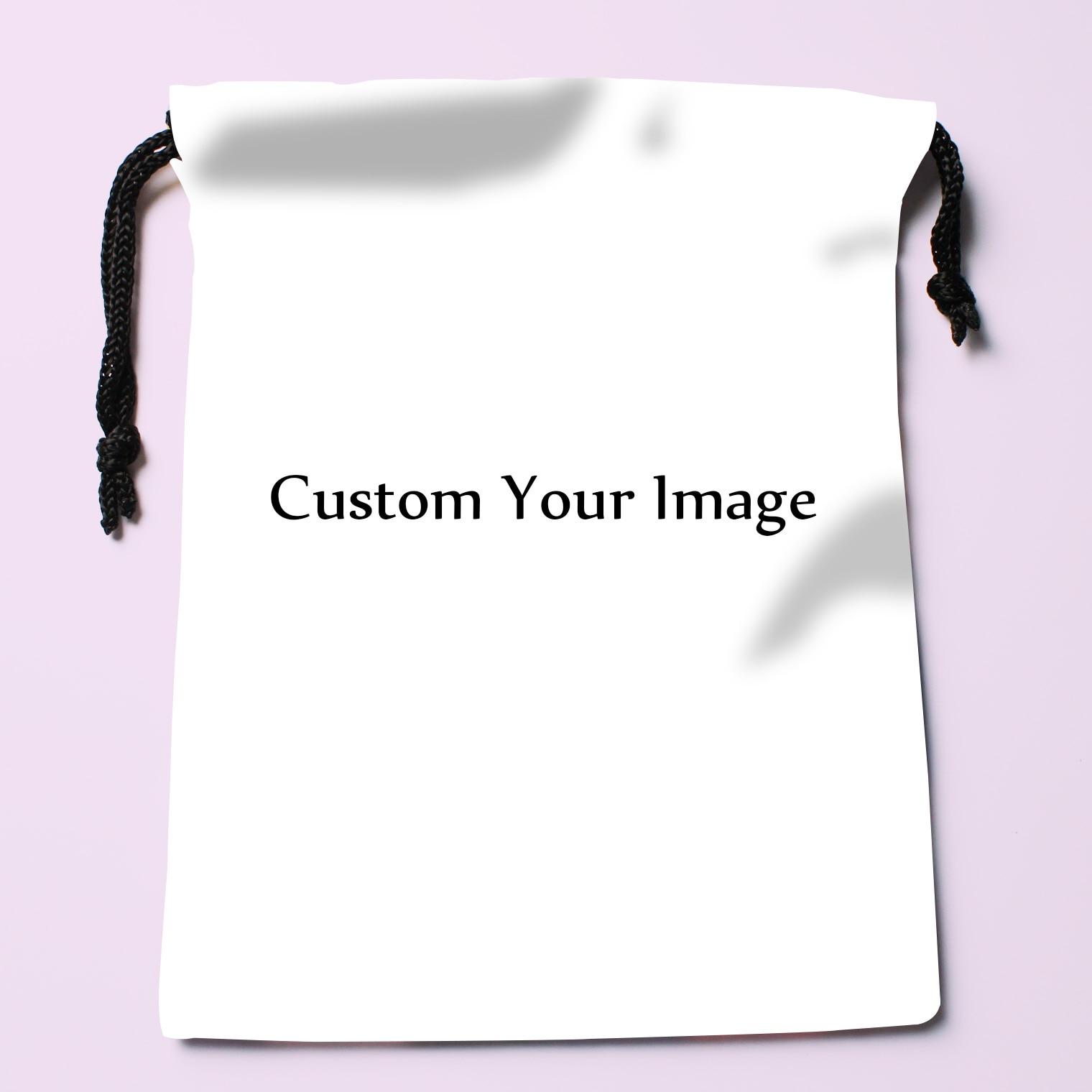 Satin Storage Bag Drawstring Gift Bags Custom Your Image 20x27cm