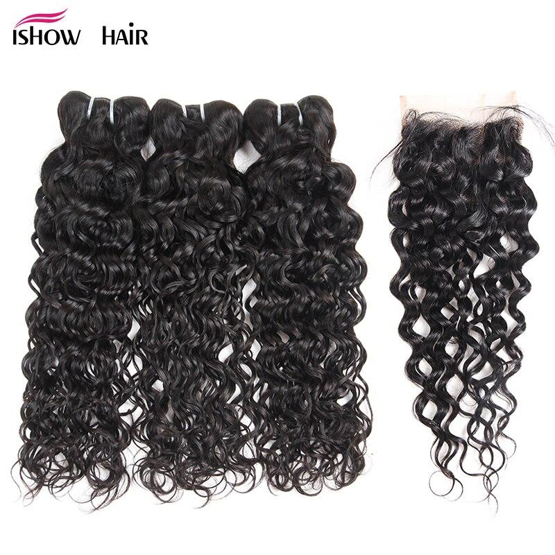 Ishow перуанский натуральные волосы 3bundles волна воды с закрытием Бесплатная средняя часть не Волосы remy расширение Природные Цвет пучки волос