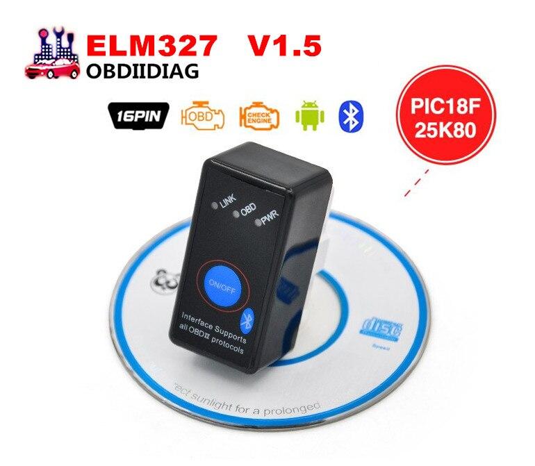 Prix pour V1.5 MINI ELM327 Bluetooth Interrupteur ELM 327 Version 1.5 OBD2/OBDII pour Android Symbian Windows