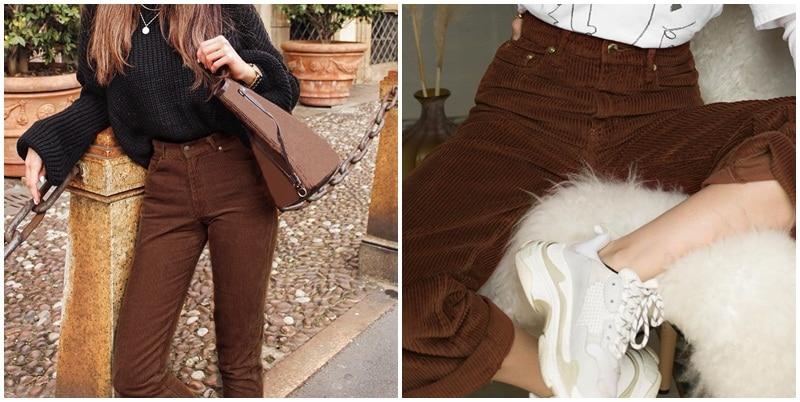 Simplee Vintage high waist wide-leg corduroy women pants Plus size loose ladies trousers palazzo pants Solid female pants
