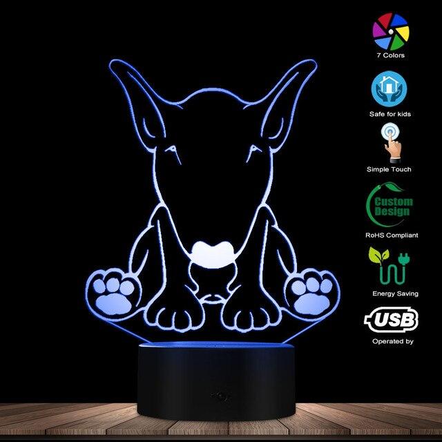 لطيف الكلب الراعي شكل تصميم تخصيص اسم 3D الوهم البصري ليلة ضوء مصباح LED متوهج البصرية مصباح الحيوانات الأليفة جرو عاشق هدية