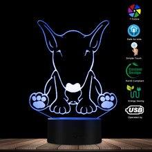 Bonito diseño con forma de perro pastor nombre personalizado 3D ilusión óptica luz nocturna brillante LED lámpara Visual mascota cachorro amante regalo