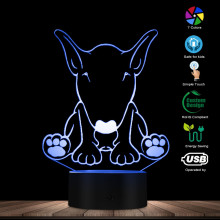 English Bull Terrier Dog 3D Optical Illusion Night Light Animal Bull Terrier Dog Breed Pet Shop Decor Visual Deco USB Table Lamp