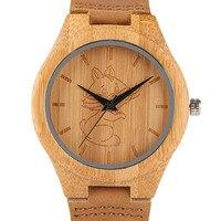 Hohe Qualität Männer Holz Uhr Natürliche Bambus Holz Handgemachte Leichte Quarz Armbanduhr Katze/Hund Muster Niedlichen Tier Uhr