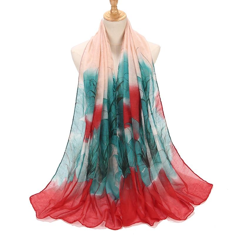 Women Soft Flowers Printed Shawls Cotton   Scarf   Plain   Wrap   Elegant Headband Linen Hijabs   Scarves   Bufanda Poncho