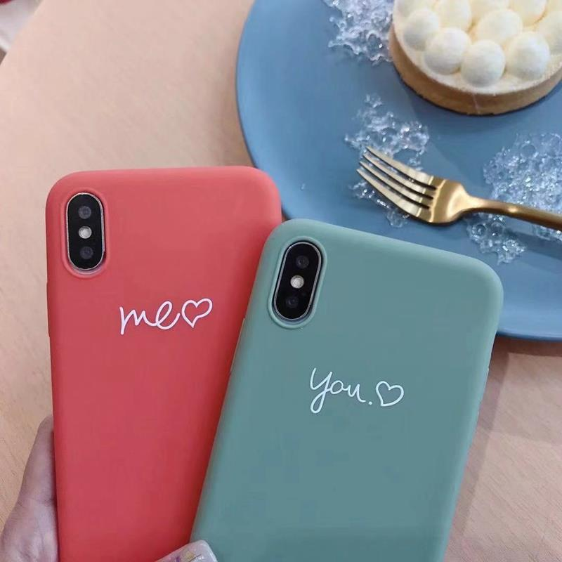 Cute Matcha green Couple Letter Me you Case For iPhone XS MAX XR X Case Soft Candy Phone Case For iPhone 7 8 6 S 6s plus cover (1)