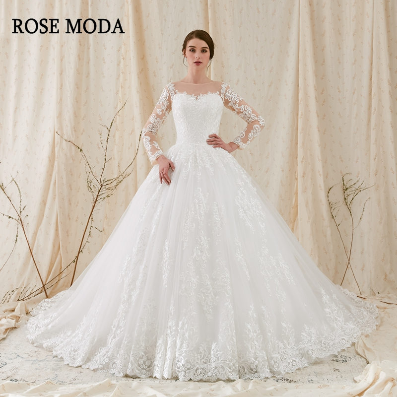 Rose Moda Luxury Long Sleeves Wedding Ball Gown 2019 Lace Wedding Dress With Sleeves For Muslim Long Train Real Photos