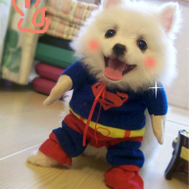 ideacherry Lovely Pet Cat Dog Superman Costume Suit Puppy Dog Clothes Outfit Superhero Apparel Clothing for Dogs