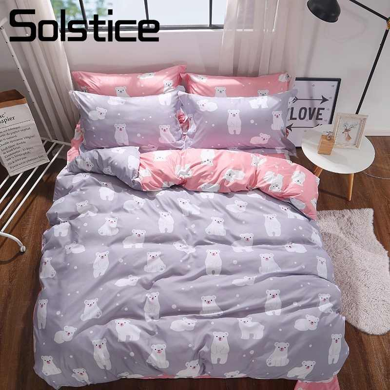 Solstice Home Textile Polar Bear Gray Pink Bedding Set Kid Girl Bed Linens Queen Full  Teen Females Duvet Cover Sheet Pillowcase