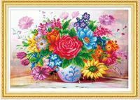 5d Diy Diamond Painting Floral Vase Mosaic Round Diamond Embroidery Needlework Cross Stitch Round Resin Diamond