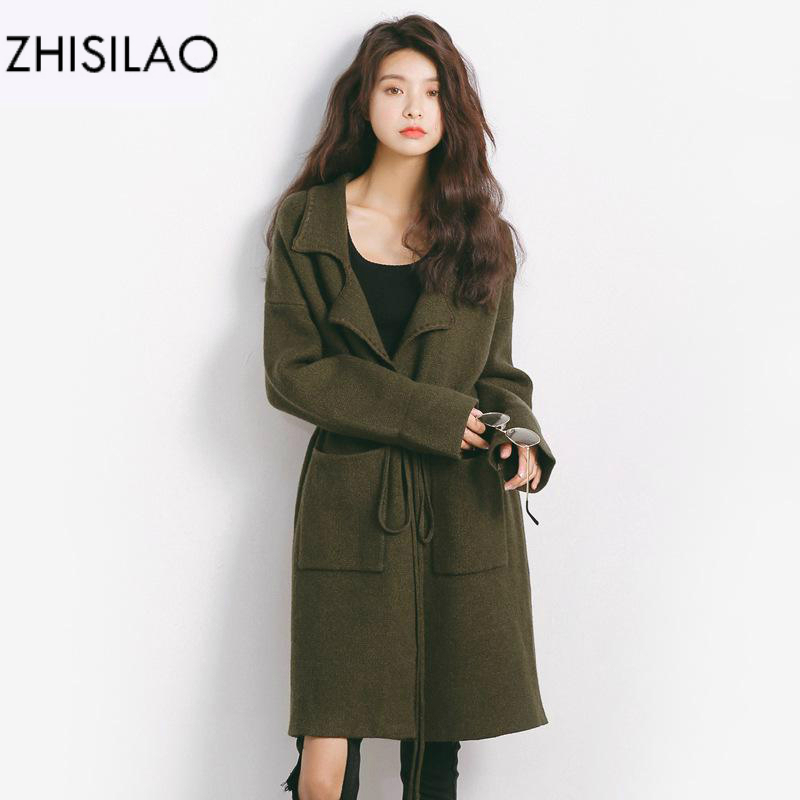 ZHISILAO 2017 Woman Winter Cardigan Pull Femme Hiver Poncho Knitted Sweater Woman Coat Sweater Cardigan Feminino Long Cardigan