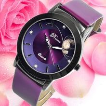 2017 PREMA Women Watches Leather Strap Quartz Clock Ladies Fashion Watch Feminino Bracelet Quartz Wrist Watch Purple Butterfly