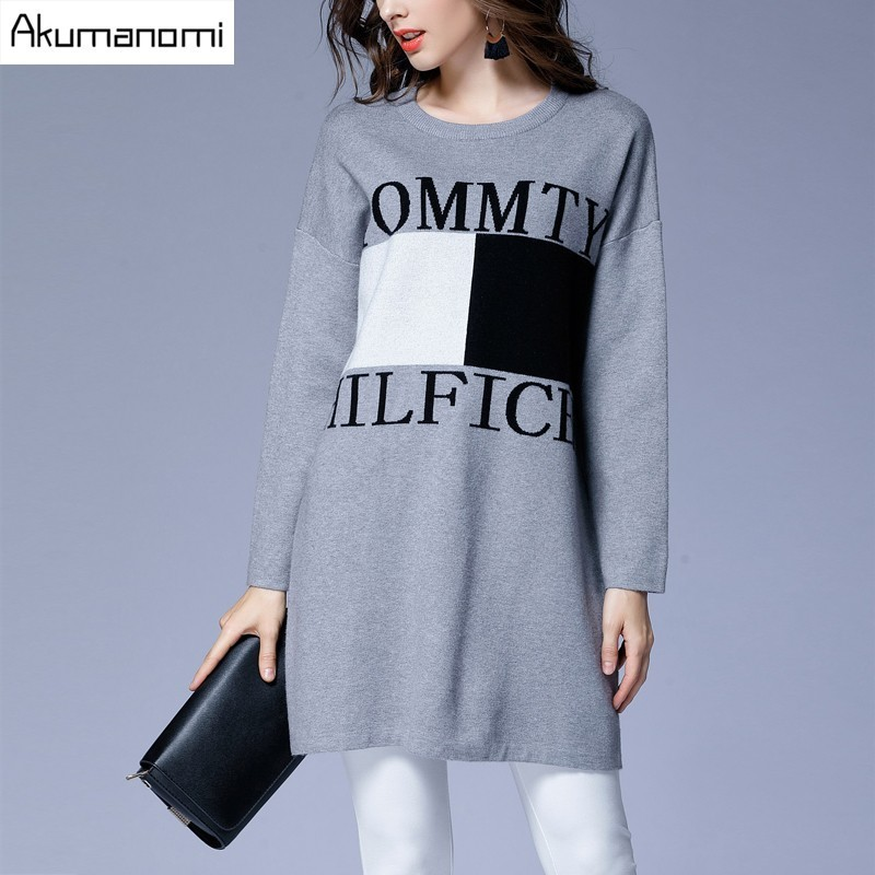 Winter Autumn Pullovers Sweater Panelled Letter Long Women Clothes Spring Knitwear Outerwear Tops High Quality Plus Size 5XL L