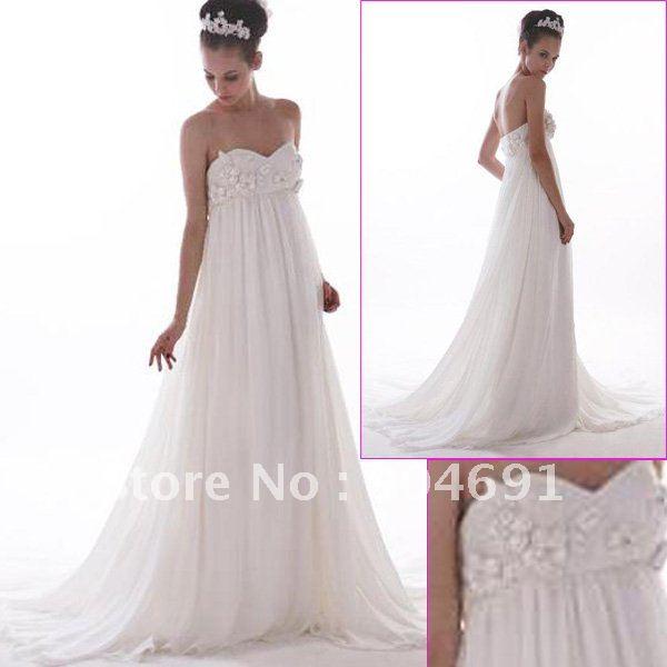Strapless White Chiffon Wedding Dress Sweetheart Empire Waist