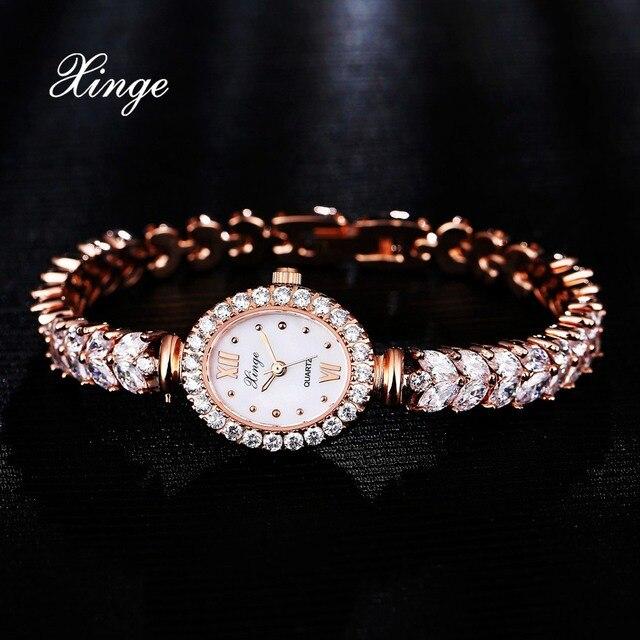 Xinge Роскошные Женщины Часы Из Розового Золота Кристалл Циркона Браслет Часы Бизнес Кварцевые Наручные Часы Дамы Платье Наручные Часы