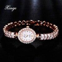 Xinge Luxury Women Rose Gold Watches Zircon Crystal Bracelet Watch Business Quartz Wristwatches Ladies Dress Fashion