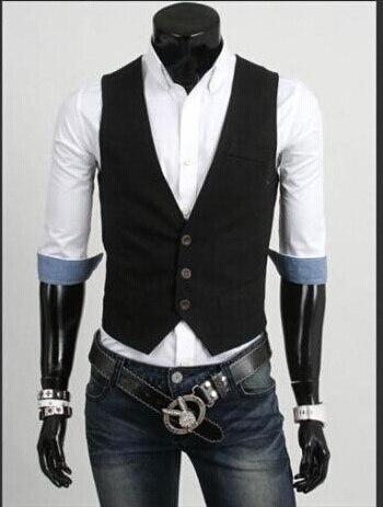 Мода Slim Фитнес Для мужчин жилет весна Для мужчин жилет Блейзер Жилеты цвет 5 Для мужчин Топы корректирующие одежда - Цвет: Черный