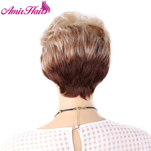 Image 5 - Amir Fluffy Short Wigs for white women Blonde wig Synthetic Short Curly Hair Wig Ombre Brown Colors for Daily Use