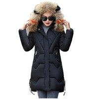 chaqueta mujer Women Down Jacket Winter Warm Big Fur Collar Long Parka Hooded Plus Size Female Snow Wear Coats