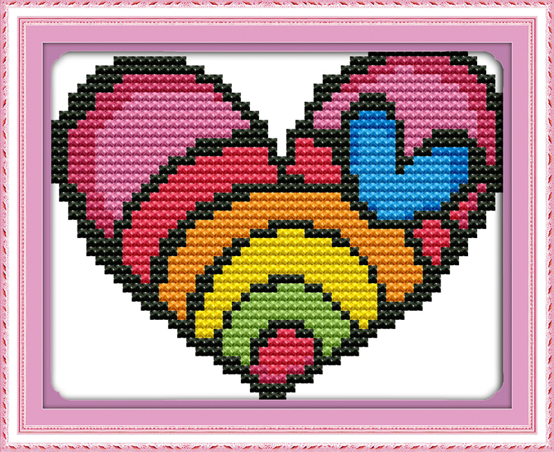 Buy rainbow heart dmc 11ct printed canvas for Cross stitch wall mural