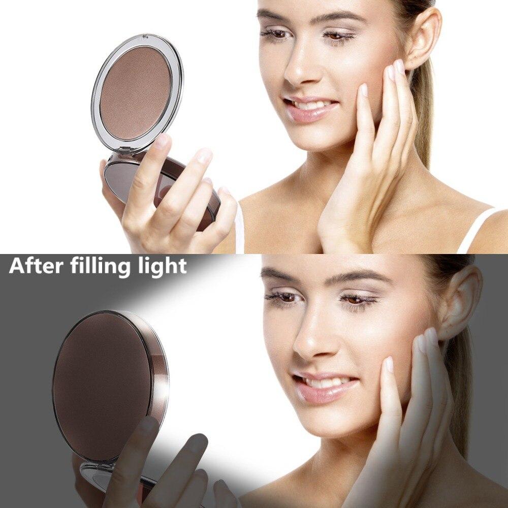 Travel Mirror LED  Makeup Mirror Folding Pocket Mirror 1x3x Magnification Adjustable Portable Travel Mirror Inductive Rechargeable Portable mirror (04)