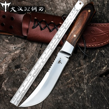 Voltron Self-defense military knife, D2 steel high hardness straight knife, survival saber retired portable outdoor knife