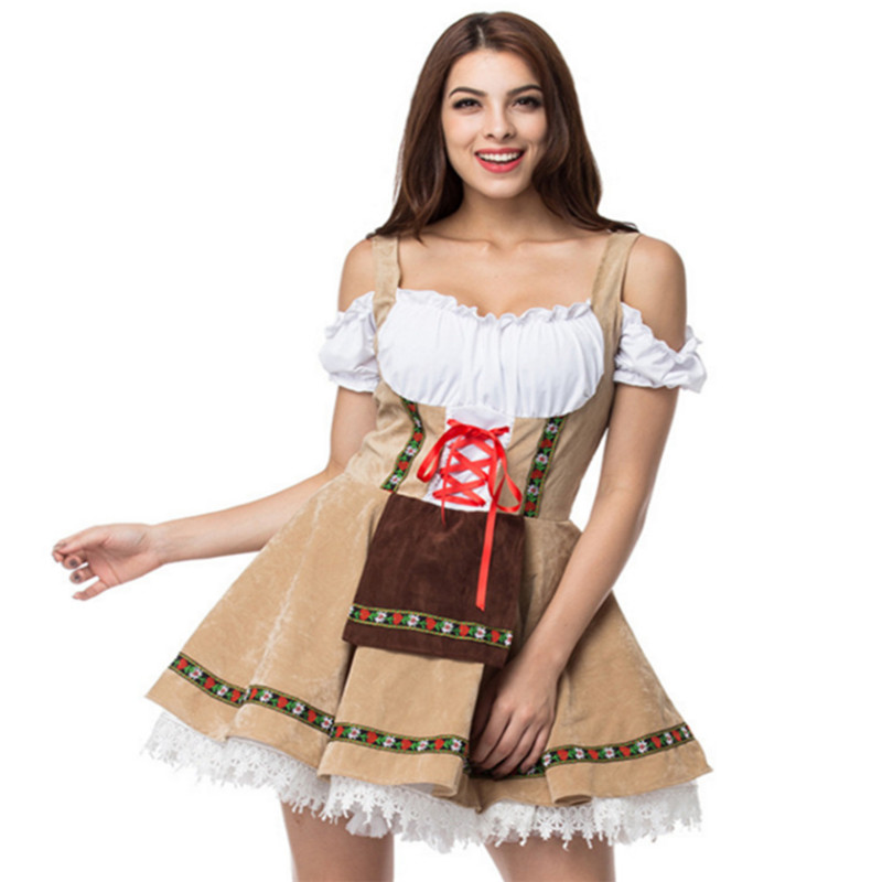 2018 new Plus size oktoberfest costume Maid woman sexy ladies german beer Halloween costume for women for adults medieval dresse