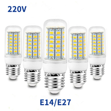 E27 LED lamp E14 bulb SMD5730 220V corn 24 36 48 56 69 72 LEDs warm white for home decoration blister