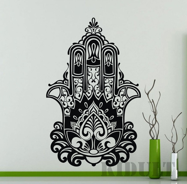 Hamsa Hand Of Fatima Eye Buddha Wall Stickers Vinyl Indian Yoga Living Room