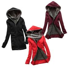 Free delivery New Fashion Women's Casual Thicken Hoodie Coat high Outerwear Jacket Black, Red, Wine Red