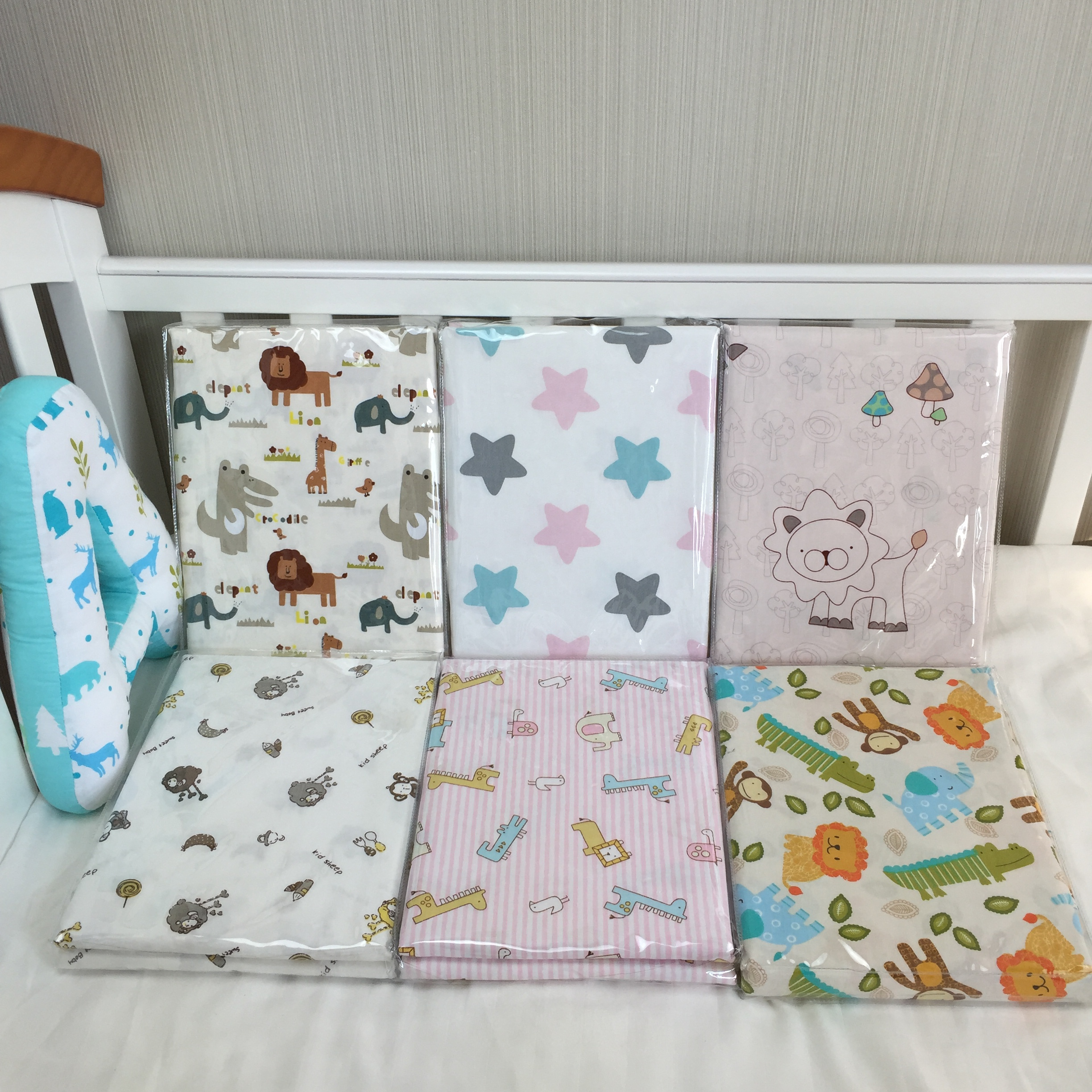 Patchwork bed sheets patterns - Baby Sheets Bed Newborn Cotton Cartoon Pattern Natural Printing Bed Sheets Children Favorite Comfort Crib Sheets