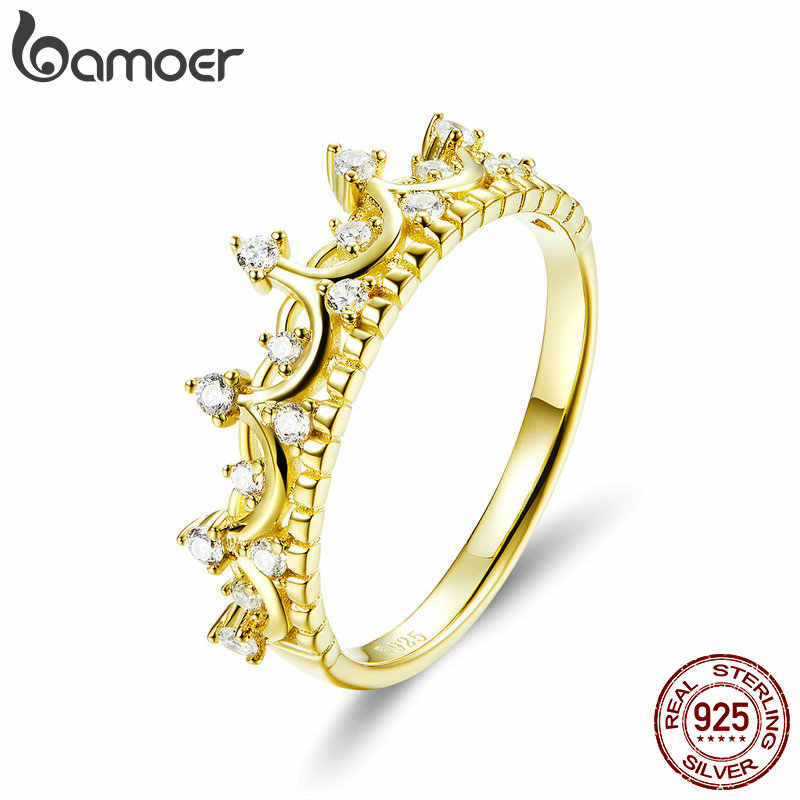 BAMOER Authentic 925 Sterling Silver Princess Crown Gold Color Crown Rings for Women Wedding Ring Jewelry Anel SCR493