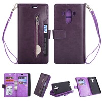 Luxury PU Leather Zipper Wallet Case For Huawei Mate 10 Pro Flip Cover Magnetic Closure Soft