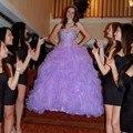 Violeta Elegante Vestido de Bola Vestido De Quinceanera Dulce 18 Anos 2017 Sweetheat Crystal Formal Vestidos Del Partido Vestidos Del Desfile