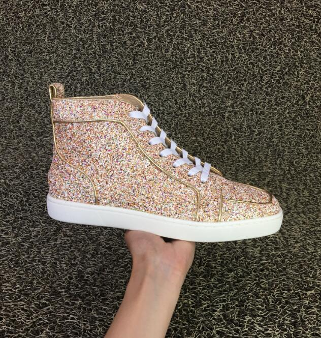 2016 TOP quality new red bottom shoes men high top shoes gold sequins font b woman