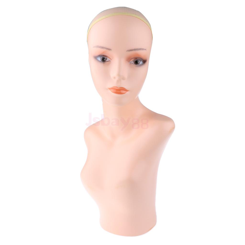23'' Female Mannequin Plastic Display Head Dummy Head Bust Shoulder Scalf Jewelry Necklace Stand Manikin new 2pcs female right left vivid foot mannequin jewerly display model art sketch