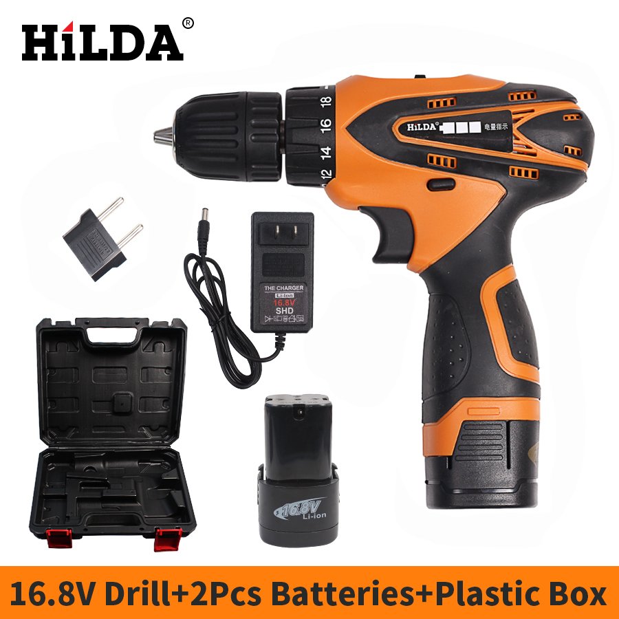 HILDA 16.8V Electric screwdriver Cordless Screwdriver Power Tools 2 PCS Lithium Battery Electric Drill With Case Electrical Tool free shipping brand proskit upt 32007d frequency modulated electric screwdriver 2 electric screwdriver bit 900 1300rpm tools