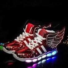 Lumineux Sneakers Enfants Sneakers usb De Charge Lumineux Lumineux Coloré LED lumières Enfants Shoes Casual USB Filles Garçon Shoes Aile