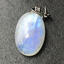 Natural Moonstone Blue Light Stone Necklace Pendant 26x18x8mm Gemstone Women Men Love Gift Crystal Healing AAAAA