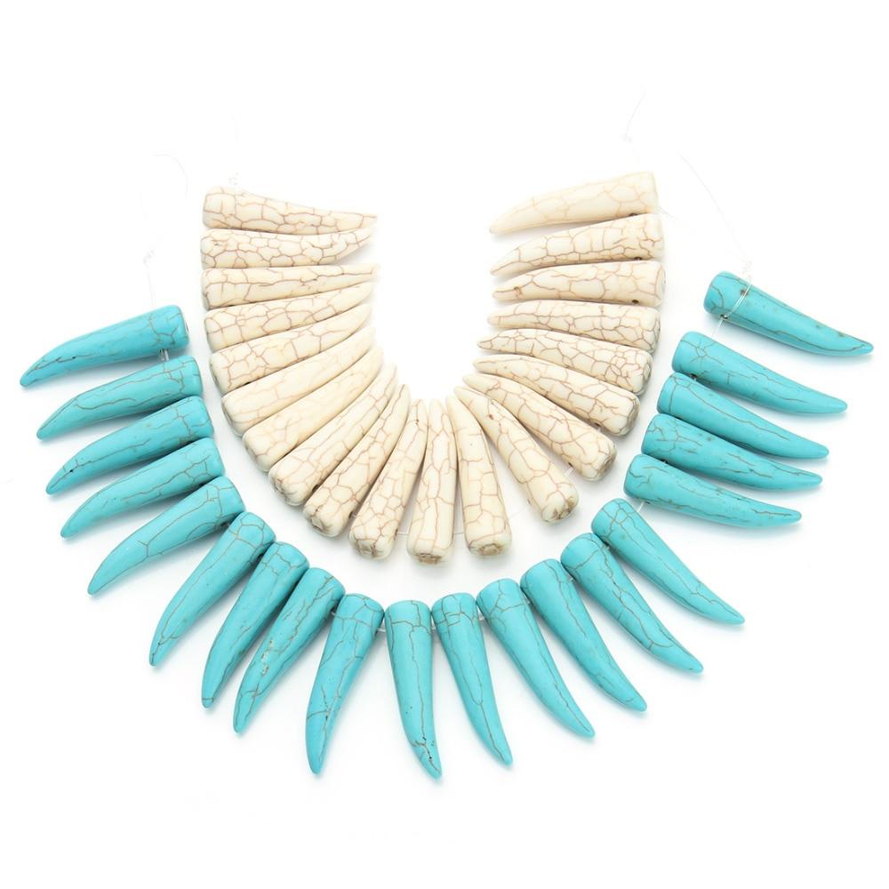 Craft beads in bulk - 20pcs Pack 1cm 3 8cm Tusk Ivory Shape Loose Bulk Blue White Created Beads