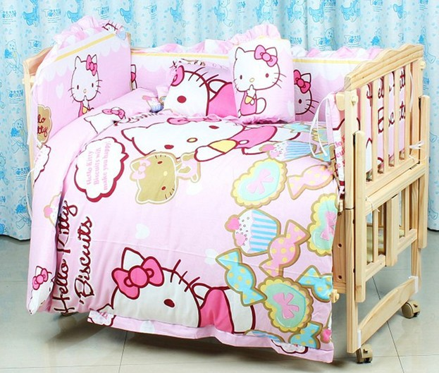 Promotion! 7pcs Cartoon Bedding Sets,Good Quality Baby Bedding Set for Girls,Crib Bedding (bumper+duvet+matress+pillow)