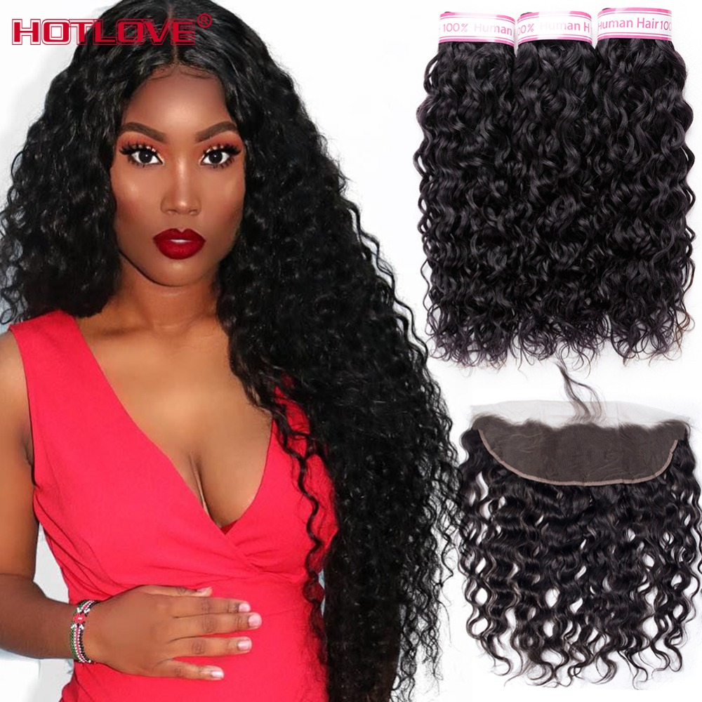 Peruvian Hair Water Wave 3 Bundles With Frontal Closure Human Hair Weave Lace Frontal Closure With Bundles Remy Hair Extensions