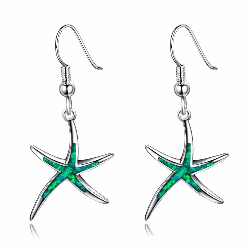 Mode Frauen 925 Sterling Silber Gefüllt Seestern Ohrringe Schmuck Green Fire Opal Baumeln Ohrringe Pendientes